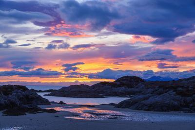 Sunset over Ardtoe Bay, Ardnamurchan Peninsula, Lochaber, Highlands, Scotland, United Kingdom