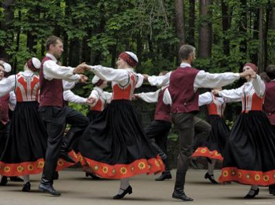 Traditional Latvian Folk Dancing, Near Riga, Baltic States by Gary Cook