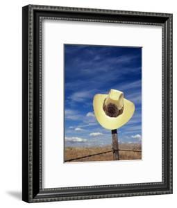 Cowboy Hat on Barbed Wire Fence, British Columbia, Canada by Gary Fiegehen