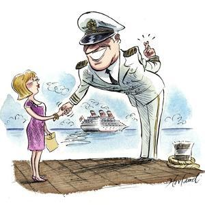 A Cruise Boat Captain Leers at a Passenger, Crossing His Fingers by Gary Hovland