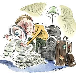 A Traveler Inspects the Fine Print on a Frequent Flyer Program by Gary Hovland