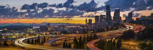 Sweeping Sunset View from Century Link Field to Downtown over Twisting I-5, from Jose Rizal Bridge by Gary Luhm