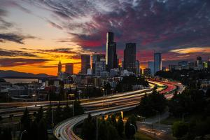 Washington, Seattle. Sunset View of Downtown over I-5 from the Jose Rizal Bridge by Gary Luhm
