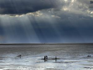 The Wash, Norfolk, Beach Landscape with Storm Clouds and Bait Diggers, UK by Gary Smith