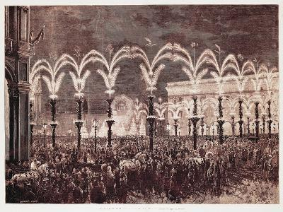 Gas Lighting in Cathedral Square in Milan, 1881, Italy, 19th Century--Giclee Print