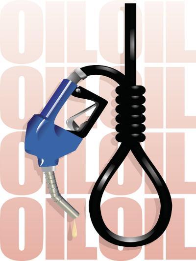 Gas Pump Nozzle and Hose Tied in Noose--Photo