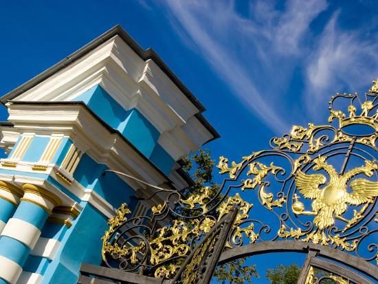Gate Detail and Support Tower at Catherine Palace, Pushkin, Russia-Nancy & Steve Ross-Photographic Print
