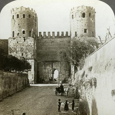 Gate of St Sebastian in the Aurelian Wall, Rome, Italy-Underwood & Underwood-Photographic Print