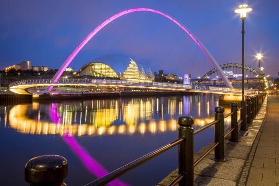 Gateshead Millennium Bridge and Sage, River Tyne, England-Brian Jannsen-Photographic Print