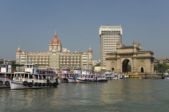 Gateway of India on the Dockside Beside the Taj Mahal Hotel, Mumbai, India, Asia-Tony Waltham-Photographic Print