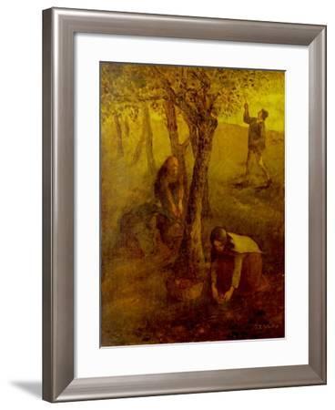 Gathering Apples-Jean-François Millet-Framed Giclee Print