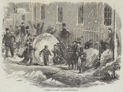 Gathering as it Goes; Or, the Monster Snowball--Giclee Print