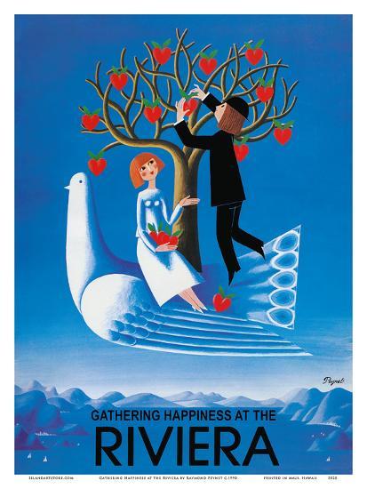 Gathering Happiness at the Riviera - French-Italian Riviera-Raymond Peynet-Art Print