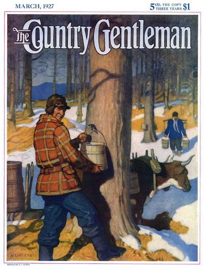 """""""Gathering Maple Syrup,"""" Country Gentleman Cover, March 1, 1927-Newell Convers Wyeth-Giclee Print"""