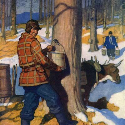 """""""Gathering Maple Syrup,""""March 1, 1927-Newell Convers Wyeth-Giclee Print"""
