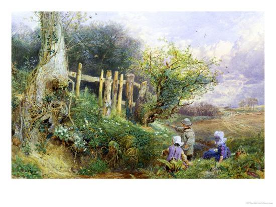Gathering Primroses-Myles Birket Foster-Giclee Print