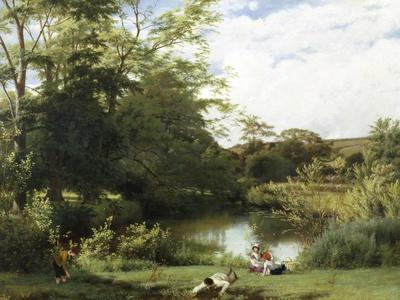 Gathering Watercress on the River Mole, Surrey-William Frederick Witherington-Giclee Print