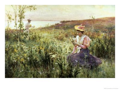 Gathering Wild Flowers-Alfred Augustus Glendenning-Giclee Print