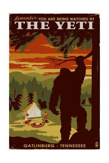 Gatlinburg, Tennessee - Youre Being Watched by the Yeti-Lantern Press-Art Print