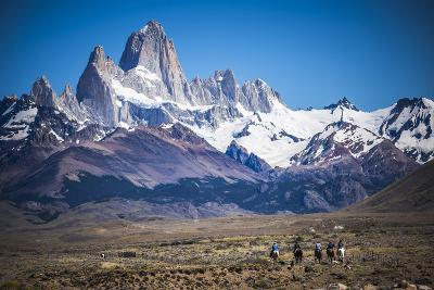 Gauchos Riding Horses and Herding Sheep with Mount Fitz Roy Behind, Patagonia, Argentina-Matthew Williams-Ellis-Photographic Print
