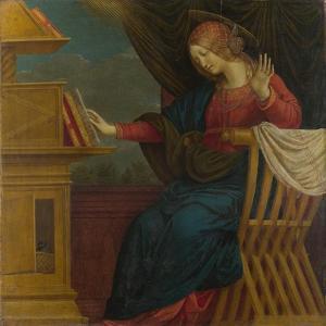 The Virgin Mary (Panel from an Altarpiece: the Annunciatio), before 1511 by Gaudenzio Ferrari