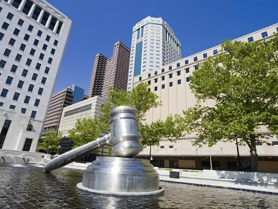 Gavel Sculpture Outside the Ohio Judicial Center, Columbus, Ohio, United States of America, North A-Richard Cummins-Photographic Print