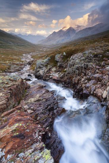 Gavia Pass, Stelvio National Park, Lombardy, Italy. Mountain River at Sunset.-ClickAlps-Photographic Print