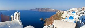 Blue Domed Churches in the Village of Oia, Santorini (Thira), Cyclades Islands, Aegean Sea, Greece by Gavin Hellier