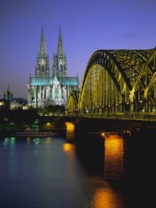 Bridge Over the River Rhine, and Cathedral (Dom), Cologne (Koln), North Rhine Westphalia, Germany by Gavin Hellier