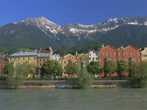 Buildings Along the Inn River, Innsbruck, Tirol (Tyrol), Austria, Europe by Gavin Hellier