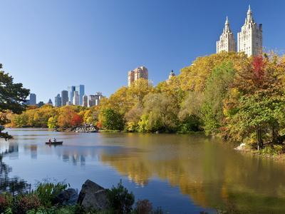 Central Park and Buildings Viewed Across Lake in Autumn, Manhattan, New York City
