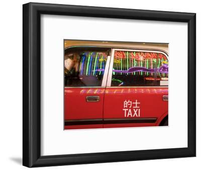 China, Hong Kong, Wan Chai, Nightlife Neon Reflected in a Hong Kong Taxi Window
