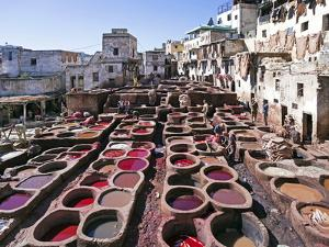 Chouwara Traditional Leather Tannery, Vats for Leather Hides and Skins, Fez, Morocco by Gavin Hellier