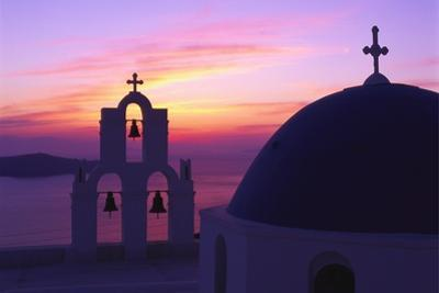 Church and Bell Tower at Sunset, Santorini, Cyclades, Greece by Gavin Hellier
