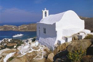 Church by Ormos Harbour, Ios Island, Cyclades, Greece by Gavin Hellier