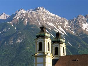 Church with Mountain Backdrop, Innsbruck, Tirol (Tyrol), Austria by Gavin Hellier