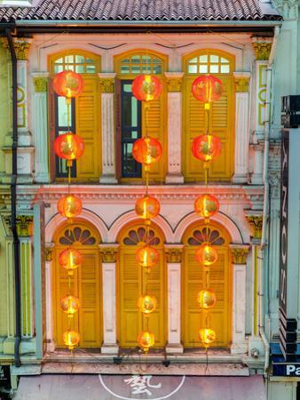 Close Up of the Shutters and Lanterns, Temple Street, Chinatown, Singapore