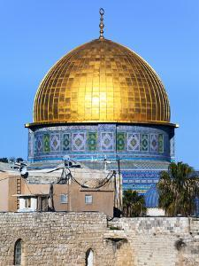 Dome of Rock Above Western Wall Plaza, Old City, UNESCO World Heritage Site, Jerusalem, Israel by Gavin Hellier