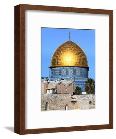 Dome of Rock Above Western Wall Plaza, Old City, UNESCO World Heritage Site, Jerusalem, Israel