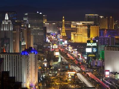 Elevated View of the Hotels and Casinos Along the Strip at Dusk, Las Vegas, Nevada, USA