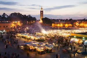 Elevated View of the Koutoubia Mosque at Dusk from Djemaa El-Fna by Gavin Hellier