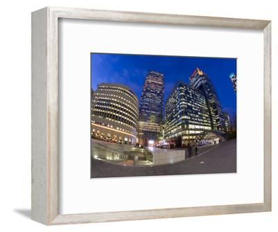 Financial District Office Buildings Illuminated at Dusk, Canary Wharf, Docklands, London, England