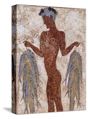 Fresco of a Fisherman from Akrotiri, Island of Santorini, Greece