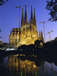 Gaudi Church Architecture, La Sagrada Familia Cathedral at Night, Barcelona, Catalunya, Spain by Gavin Hellier