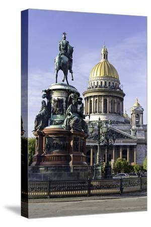 Golden Dome of St. Isaac's Cathedral Built in 1818 and the Equestrian Statue of Tsar Nicholas