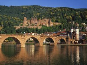 Heidelberg Castle, Alte Brucke and the River Neckar, Heidelberg, Baden Wurttemberg, Germany by Gavin Hellier