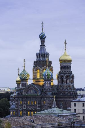 Illuminated Domes of Church of the Saviour on Spilled Blood, St. Petersburg, Russia