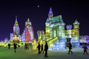 Illuminated Ice Sculpture at the Harbin Ice and Snow Festival in Harbin, Heilongjiang Province, Chi by Gavin Hellier