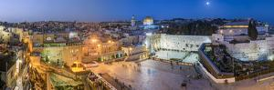 Israel, Jerusalem, Old City, Jewish Quarter of the Western Wall Plaza, with People Praying at the W by Gavin Hellier