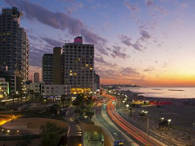 Israel, Tel Aviv, Elevated Dusk View of the City Beachfront by Gavin Hellier